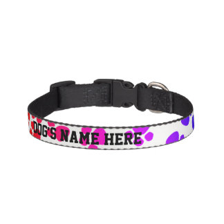 Your Dog's Name Colored Paw Prints - Pet Collar