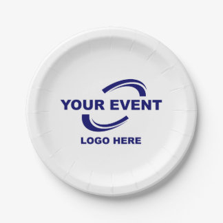Your Event Logo Paper Plates White or Choose Color