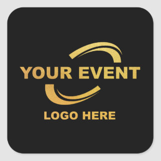 Your Event Logo Stickers Square Black