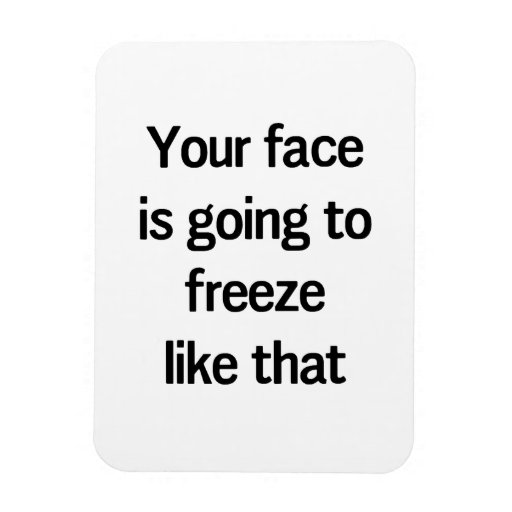 Your Face is Going to Freeze Like That Rectangle Magnet