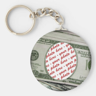 Your Face on the $100 Bill! Add-A-Photo Basic Round Button Key Ring