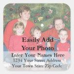 Your Family Christmas Photo Return Address Label Square Sticker