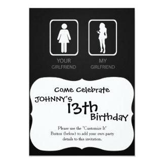 Your girlfriend My girlfriend 13 Cm X 18 Cm Invitation Card