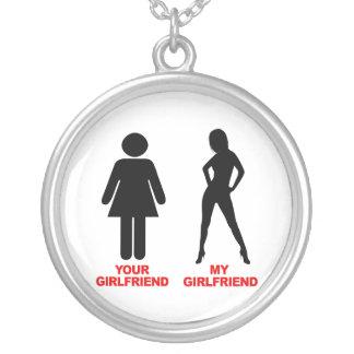 Your Girlfriend. My Girlfriend Round Pendant Necklace