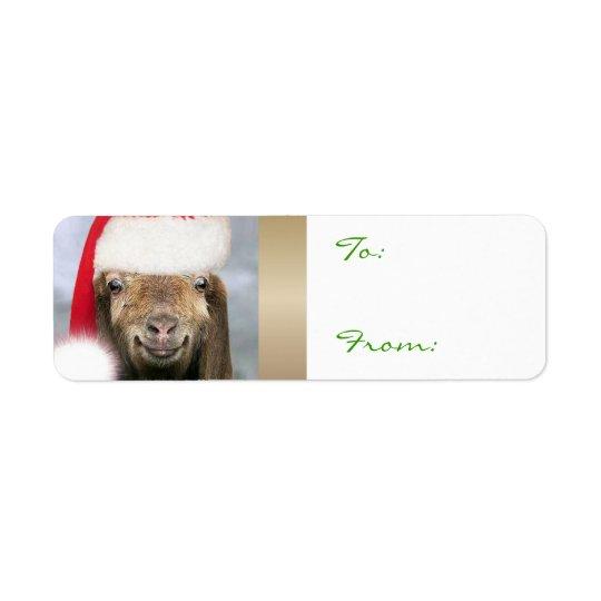YOUR GOAT PHOTO Goat Christmas Gift Tag Return Address Label