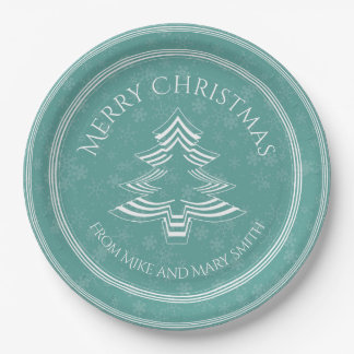 Your Greeting - Teal/White Christmas Tree Font Paper Plate