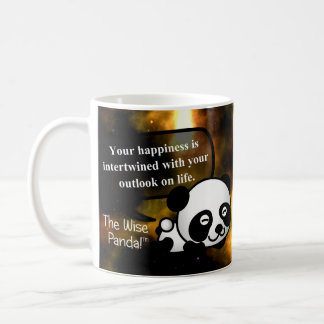 Your happiness depends on your outlook on life basic white mug