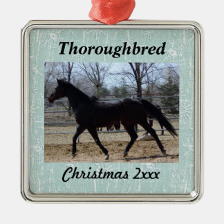 Your Horse Photo with Snowflakes Christmas Ornament