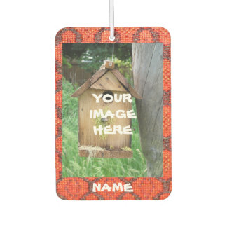 Your Image and Text on Red textured background Car Air Freshener