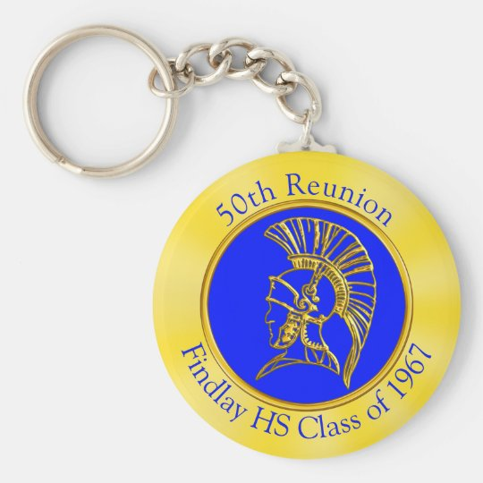 Your Image, Colours, Text on Class Reunion Basic Round Button Key Ring