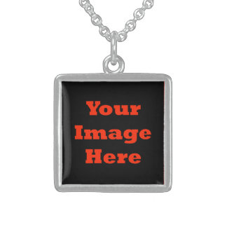 Your Image Here (Vertical) Square Pendant Necklace