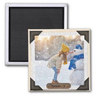 Your Image | Vintage Photo Album Corners Monogram Magnet