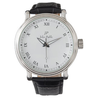 Your Initials and Name with Roman Clock Face Wrist Watch