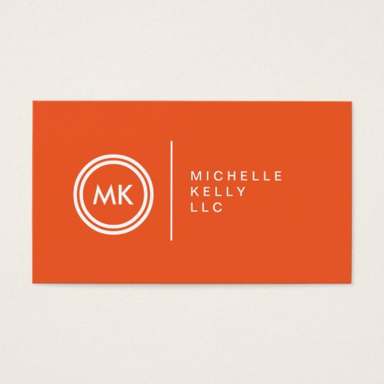 YOUR INITIALS LOGO on ORANGE No. 2 Business Card