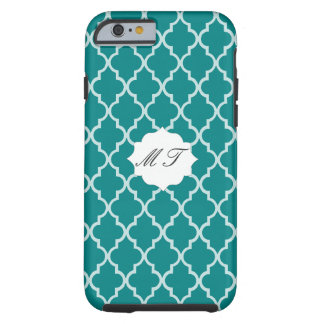 Your Initials On Teal Green White Moroccan Trellis Tough iPhone 6 Case