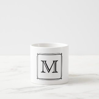 Your Letter. Black and White Monogram. Espresso Mug