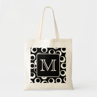 Your Letter Black and White Monogram Fun Pattern Bags