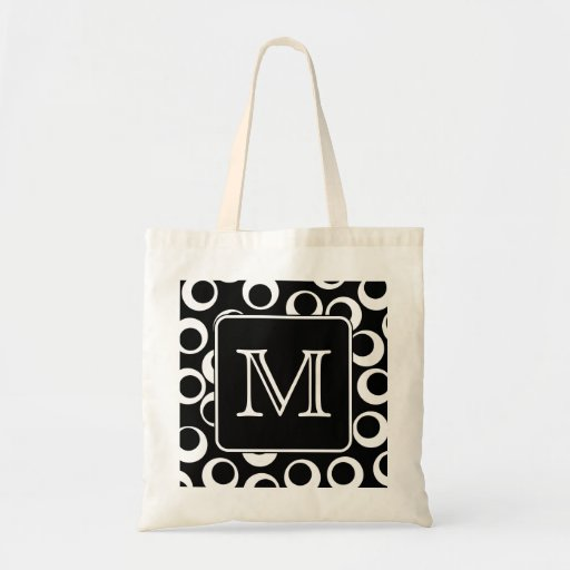 Your Letter. Black and White Monogram. Fun Pattern Bags