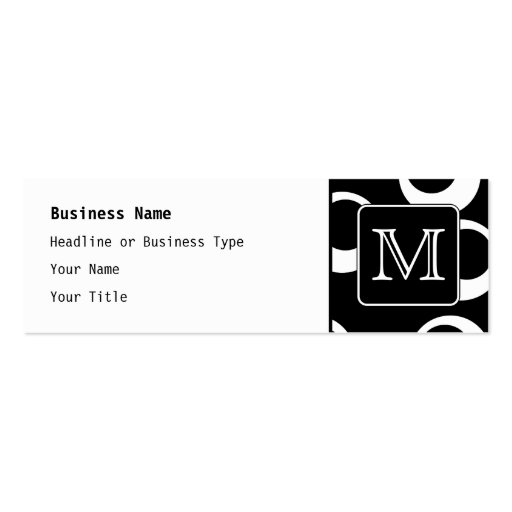 Your Letter. Black and White Monogram. Fun Pattern Business Cards