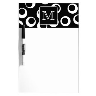Your Letter. Black and White Monogram. Fun Pattern Dry Erase Board