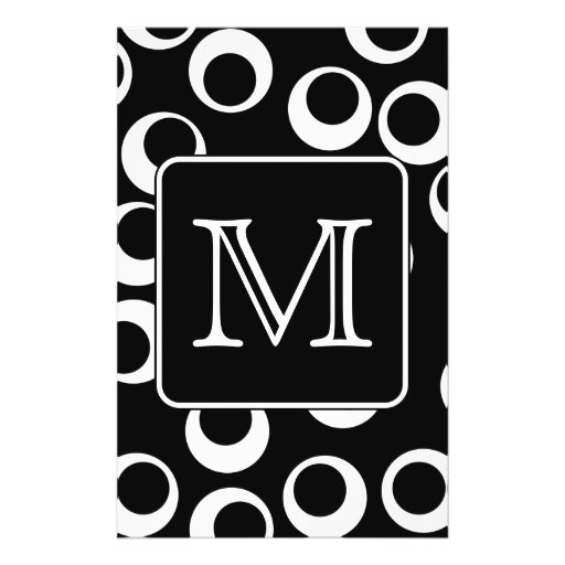 Your Letter. Black and White Monogram. Fun Pattern Personalized Flyer