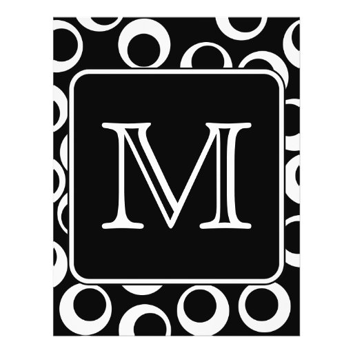 Your Letter. Black and White Monogram. Fun Pattern Custom Flyer