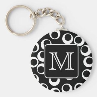 Your Letter. Black and White Monogram. Fun Pattern Key Chain