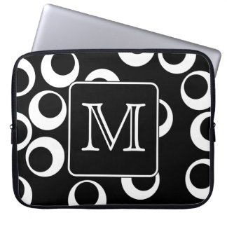 Your Letter. Black and White Monogram. Fun Pattern Laptop Sleeve
