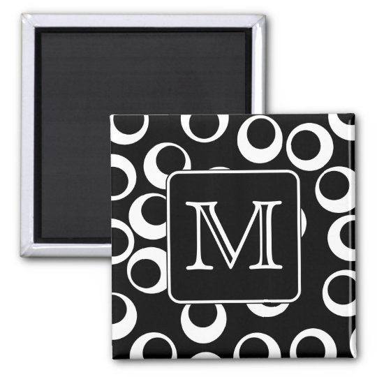 Your Letter. Black and White Monogram. Fun Pattern Magnet