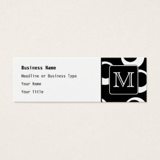 Your Letter. Black and White Monogram. Fun Pattern Mini Business Card