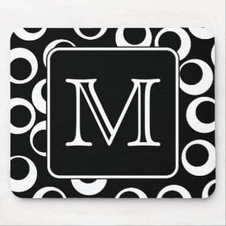 Your Letter. Black and White Monogram. Fun Pattern Mouse Pad