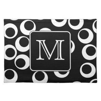Your Letter. Black and White Monogram. Fun Pattern Placemat