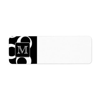 Your Letter. Black and White Monogram. Fun Pattern Return Address Label