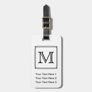 Your Letter. Black and White Monogram. Luggage Tag