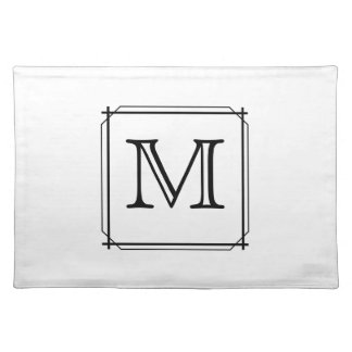 Your Letter. Black and White Monogram. Placemat