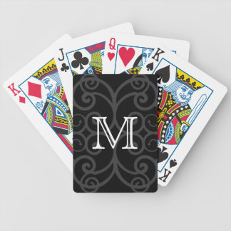 Your Letter. Black / White Swirl Monogram. Custom Bicycle Playing Cards