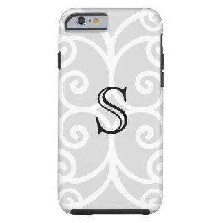 Your Letter. Black / White Swirl Monogram. Custom Tough iPhone 6 Case