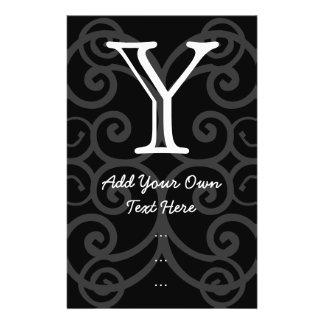 Your Letter. Black / White Swirl Monogram. Custom 14 Cm X 21.5 Cm Flyer