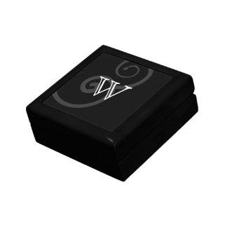 Your Letter. Black / White Swirl Monogram. Custom Gift Box