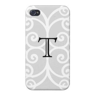 Your Letter. Black / White Swirl Monogram. Custom iPhone 4/4S Cases