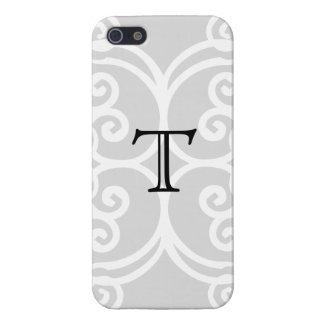 Your Letter. Black / White Swirl Monogram. Custom iPhone 5 Cover