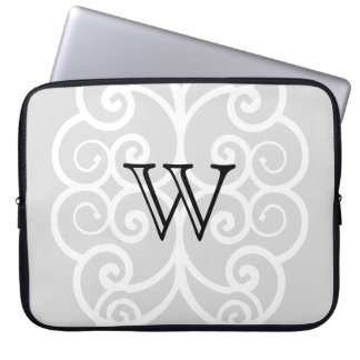 Your Letter. Black / White Swirl Monogram. Custom Laptop Sleeve