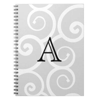 Your Letter. Black / White Swirl Monogram. Custom Notebook
