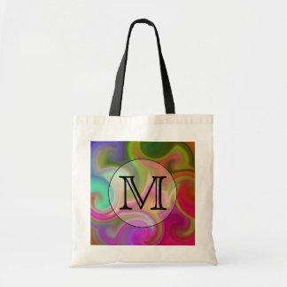 Your Letter, Colorful Swirls and Custom Monogram. Budget Tote Bag