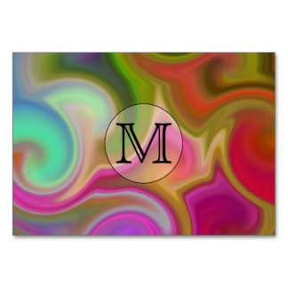 Your Letter, Colorful Swirls and Custom Monogram. Card