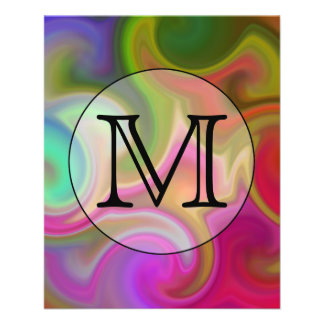 Your Letter Colorful Swirls and Custom Monogram Flyer