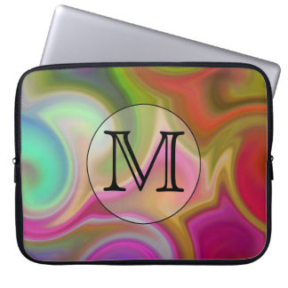 Your Letter, Colorful Swirls and Custom Monogram. Laptop Sleeve