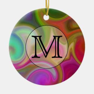 Your Letter, Colorful Swirls and Custom Monogram. Round Ceramic Decoration