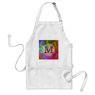 Your Letter, Colorful Swirls and Custom Monogram. Standard Apron