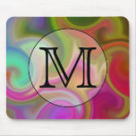 Your Letter, Colourful Swirls and Custom Monogram. Mousepad